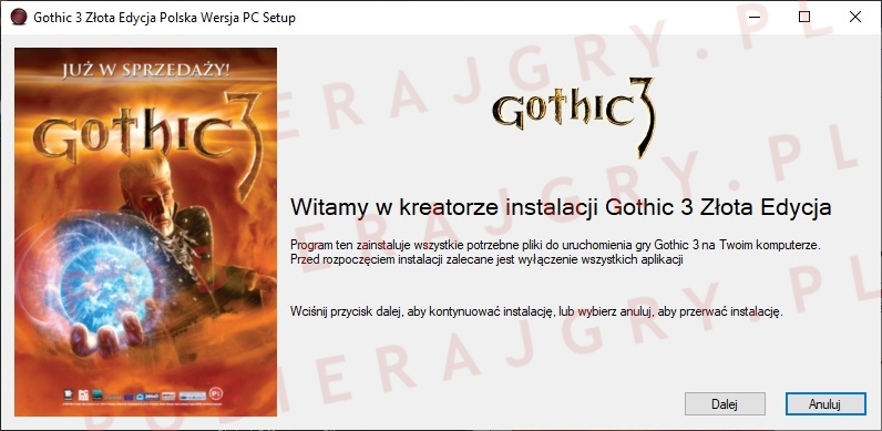 Kreator instalacji Gothic 3 Złota Edycja