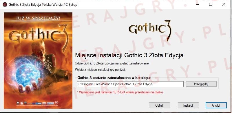 Wybór miejsca instalacji gry Gothic 3