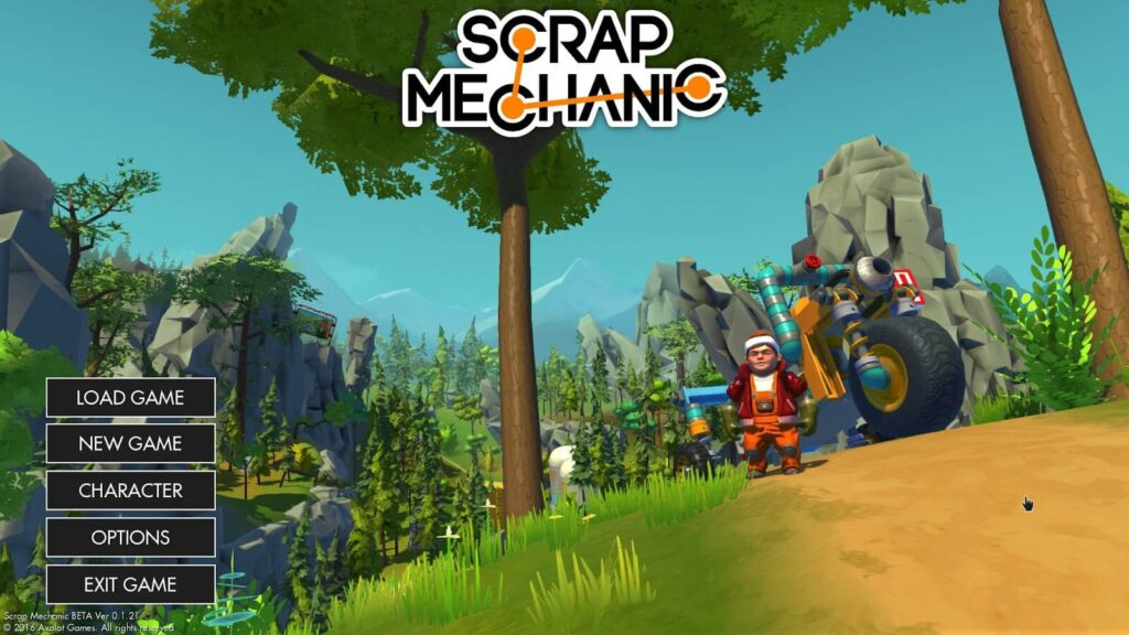 scrap mechanic menu